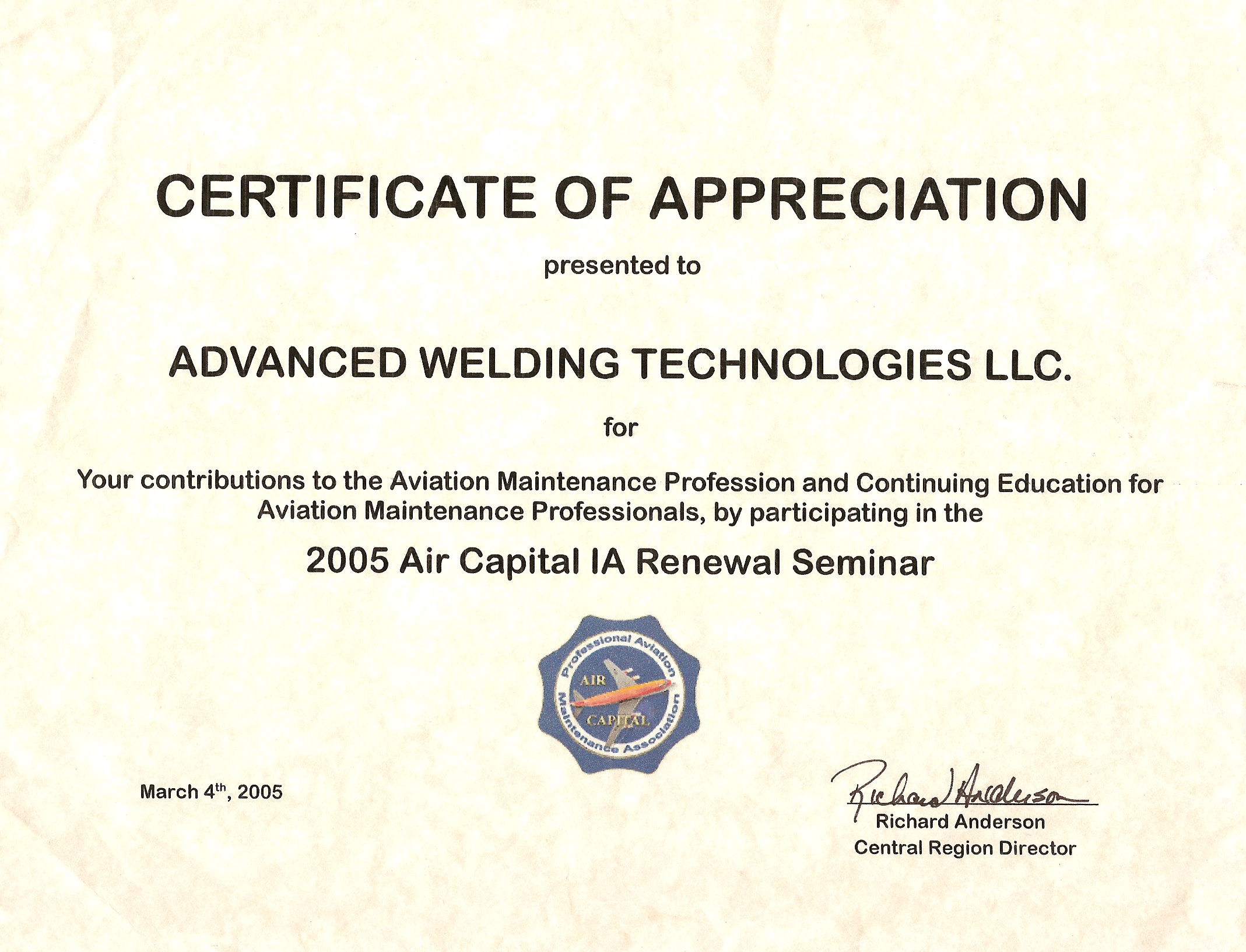 Awts certifications aviation maintenance certificate of appreciation yelopaper Image collections